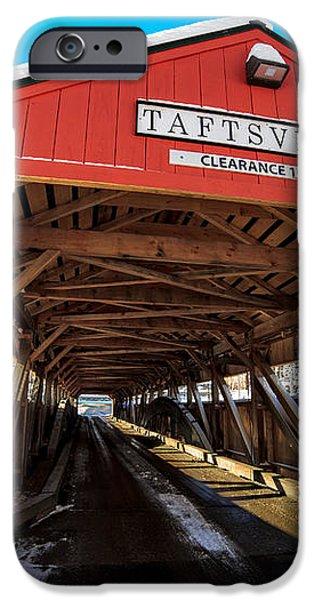 Taftsville Covered Bridge in Vermont in winter iPhone Case by Edward Fielding