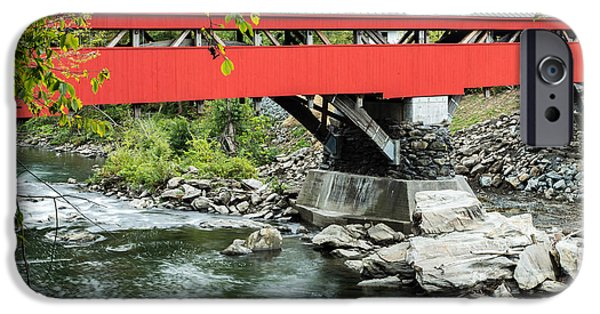 Historic Site iPhone Cases - Taftsville Covered Bridge Vermont iPhone Case by Edward Fielding