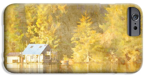 Boat House iPhone Cases - Tahkenitch Lake Oregon iPhone Case by Carol Leigh