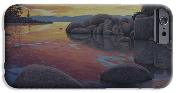 Waterscape Paintings iPhone Cases - Tahoe Sunset iPhone Case by James English Babcock