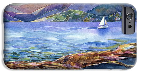 Sailboats iPhone Cases - Tahoe Tides iPhone Case by Jen Norton
