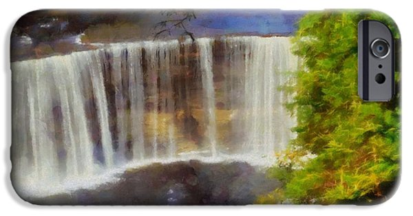 Power iPhone Cases - Tahquamenon Falls Painting iPhone Case by Dan Sproul