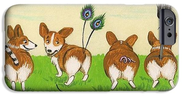 Dog In Landscape iPhone Cases - Tail Competition iPhone Case by Margaryta Yermolayeva