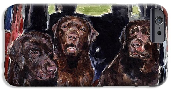 Chocolate Labrador Retriever Paintings iPhone Cases - Tailgaters iPhone Case by Molly Poole