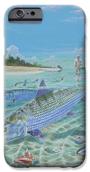 Atlantis iPhone Cases - Tailing Bonefish In003 iPhone Case by Carey Chen
