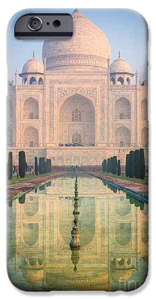Culture iPhone Cases - Taj Mahal Dawn Reflection iPhone Case by Inge Johnsson
