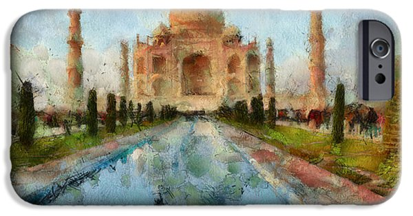 Design iPhone Cases - Taj Mahal Digital Water iPhone Case by Yury Malkov