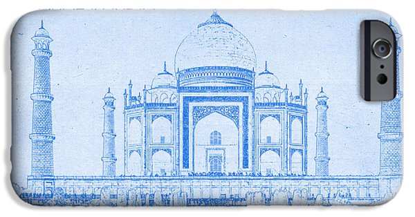 Mystical Landscape Mixed Media iPhone Cases - Taj Mahal in India - BluePrint Drawing iPhone Case by MotionAge Designs