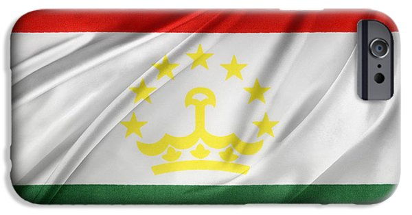 Patriotism iPhone Cases - Tajikistan flag iPhone Case by Les Cunliffe