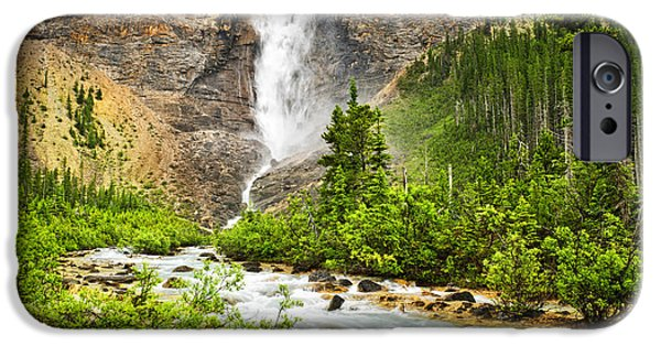 River View iPhone Cases - Takakkaw Falls waterfall in Yoho National Park Canada iPhone Case by Elena Elisseeva