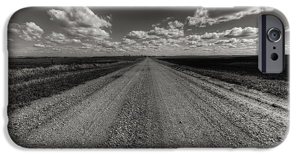 Willow Lake iPhone Cases - Take A Back Road BnW version iPhone Case by Aaron J Groen