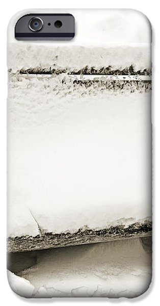 Take A Seat  And Chill Out - Park Bench - Winter - Snow Storm BW 2 iPhone Case by Andee Design