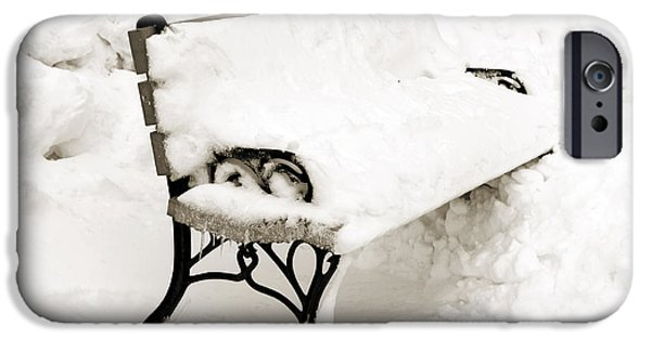 Park Scene Mixed Media iPhone Cases - Take A Seat  And Chill Out - Park Bench - Winter - Snow Storm BW iPhone Case by Andee Design