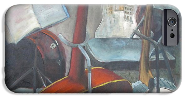 Empty Chairs Paintings iPhone Cases - Take Five iPhone Case by Susan Richardson