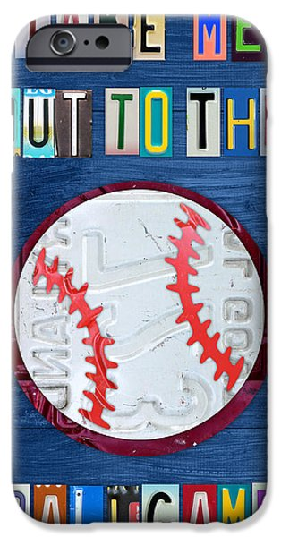 Take Me Out to the Ballgame License Plate Art Lettering Vintage Recycled Sign iPhone Case by Design Turnpike