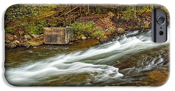 Arkansas iPhone Cases - Take me to the Other Side Beavers Bend Broken Bow Lake Flowing River Fall Foliage iPhone Case by Silvio Ligutti