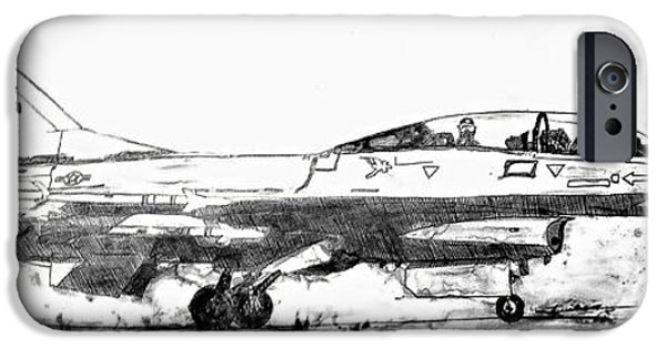 Jet Star Drawings iPhone Cases - Take off F-16 iPhone Case by Theresa Hudson