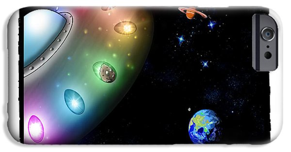 Space Themed Nursery iPhone Cases - Taken Away by Alien Pigs iPhone Case by Star Mudersbach