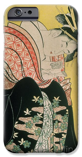 Japan House iPhone Cases - Takigawa from the Tea House Ogi iPhone Case by Kitagawa Otamaro