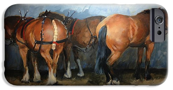 The Horse iPhone Cases - Taking a Break  Chertsey Show iPhone Case by Jennifer Wright