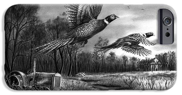 Pheasant iPhone Cases - Taking Flight  iPhone Case by Peter Piatt