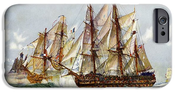 Warship iPhone Cases - Taking on the Duguay Trouin after Trafalgar iPhone Case by Charles Edward Dixon