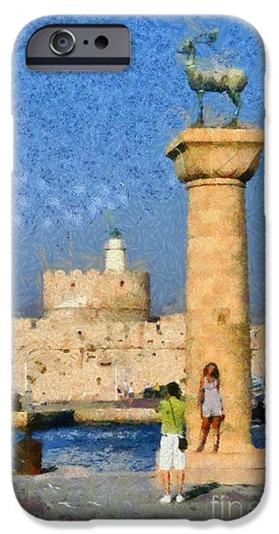 Statue Portrait Paintings iPhone Cases - Taking pictures at the entrance of Mandraki port iPhone Case by George Atsametakis