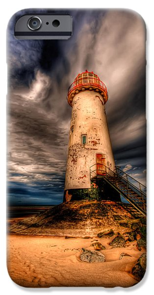 Evening Digital Art iPhone Cases - Talacre Lighthouse iPhone Case by Adrian Evans