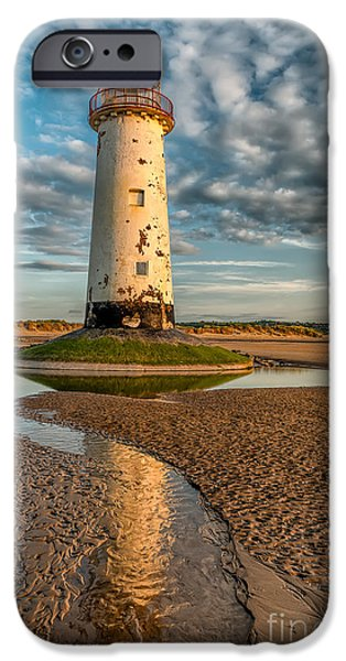 Coastline Digital Art iPhone Cases - Talacre Lighthouse Sunset iPhone Case by Adrian Evans