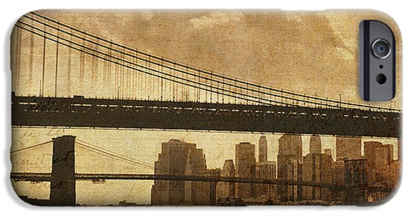 Twin Towers Nyc iPhone Cases - Tale of Two Bridges iPhone Case by Joann Vitali