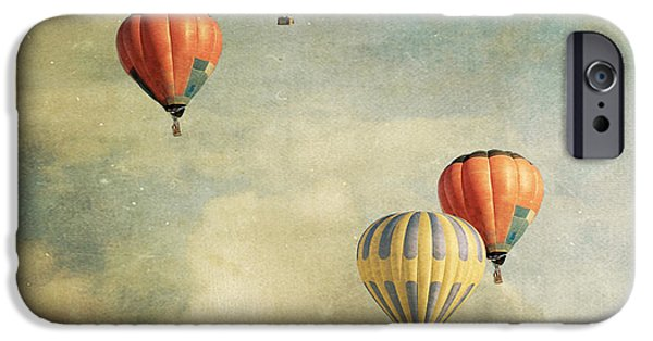Hot Air Balloon iPhone Cases - Tales Of Far Away 2 iPhone Case by Violet Gray