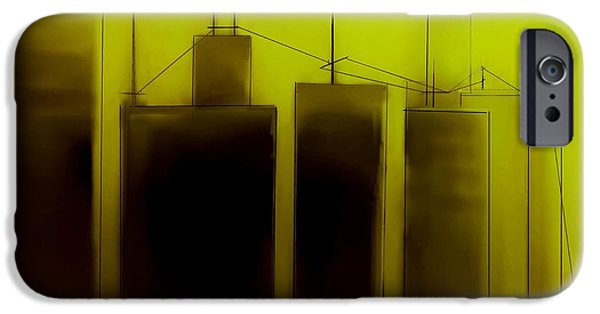 Buildings Mixed Media iPhone Cases - Talking Towers   Phase One #4 iPhone Case by Diane Strain