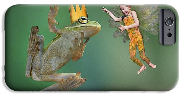 Flying Frog iPhone Cases - Talking With The Frog King iPhone Case by Buddy Mays