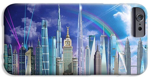 Empire State Digital iPhone Cases - Tall Buildings iPhone Case by Garry Walton