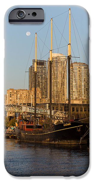 Tall Ship iPhone Cases - Tall Ship and Full Moon at Toronto Harbourfront iPhone Case by Georgia Mizuleva