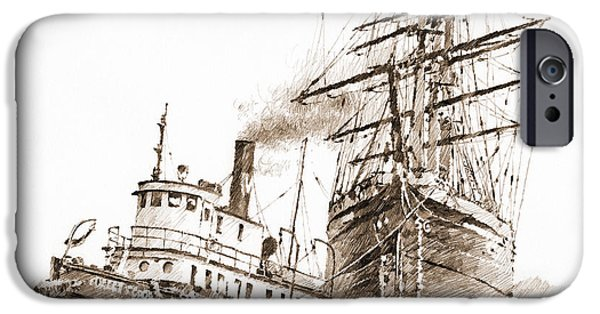 Tall Ship iPhone Cases - Tall Ship Assist Sepia iPhone Case by James Williamson