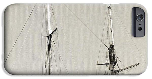 Tall Ship iPhone Cases - Tall Ship at Dock iPhone Case by Barbara Bardzik