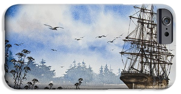 Tall Ship iPhone Cases - Tall Ship Cove iPhone Case by James Williamson