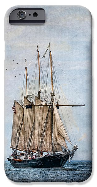 Full Sail iPhone Cases - Tall Ship Denis Sullivan iPhone Case by Dale Kincaid