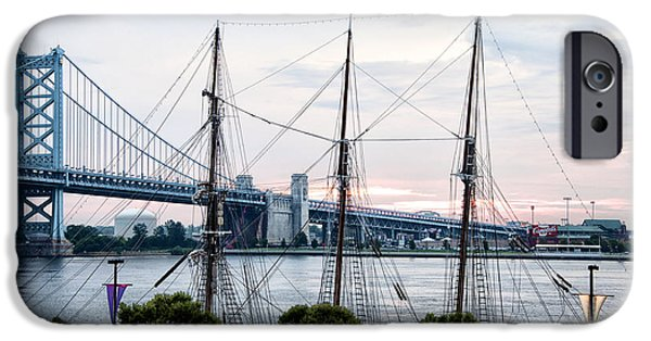 Tall Ship Digital Art iPhone Cases - Tall Ship Gazela at Penns Landing iPhone Case by Bill Cannon