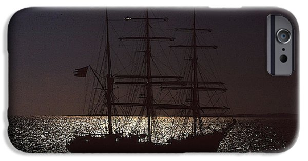 Tall Ship Mixed Media iPhone Cases - Tall ship in moonlight iPhone Case by Anthony Dalton