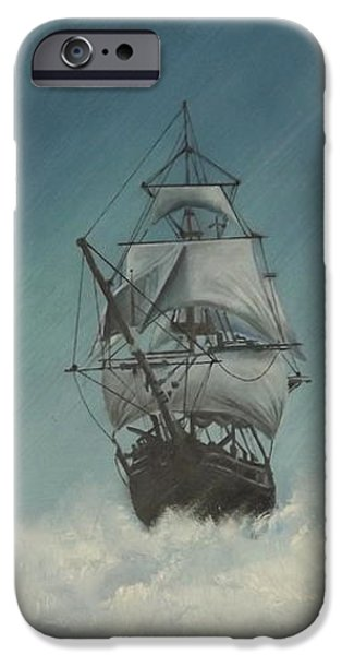 Tall Ship iPhone Cases - Tall Ship in Storm iPhone Case by Jeff Warren