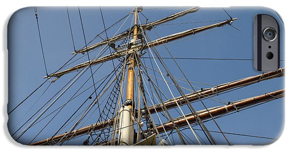 Tall Ship iPhone Cases - Tall Ship Mast Rigging iPhone Case by Allen Sheffield