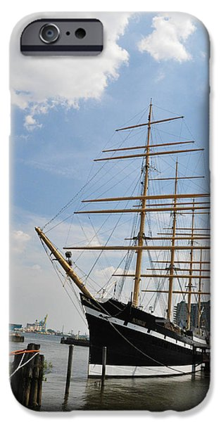 Tall Ship Digital Art iPhone Cases - Tall Ship Mushulu at Penns Landing iPhone Case by Bill Cannon