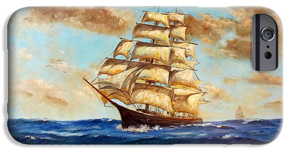Pirate Ship iPhone Cases - Tall Ship On The South Sea iPhone Case by Lee Piper