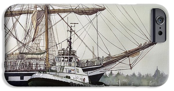 Tall Ship iPhone Cases - Tall Ship PALLADA Tug Assist iPhone Case by James Williamson