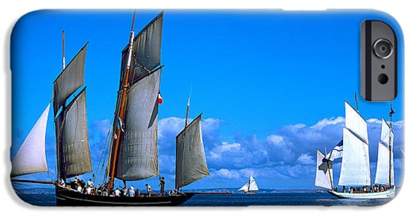 Regatta iPhone Cases - Tall Ship Regatta Featuring Cancalaise iPhone Case by Panoramic Images