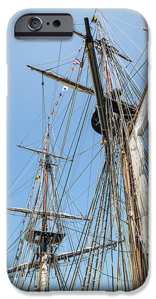 Tall Ship iPhone Cases - Tall Ship Rigging iPhone Case by Dale Kincaid