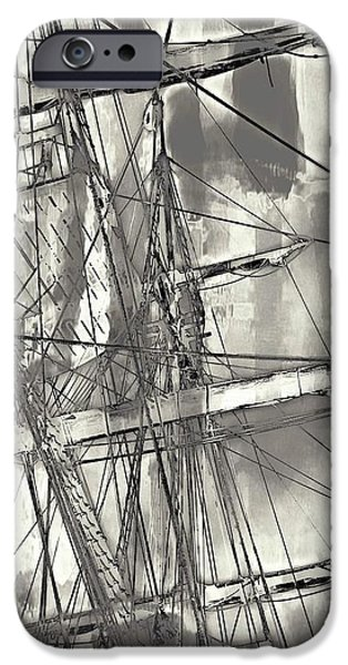Tall Ship iPhone Cases - Tall Ship Rigging iPhone Case by Mike Marsden