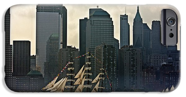 Patriots iPhone Cases - Tall Ship sailing past the New York skyline iPhone Case by Nishanth Gopinathan